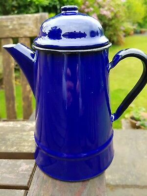 Vintage blue enamel coffee pot no 12 Poland Shabby Chic kitsch country camping