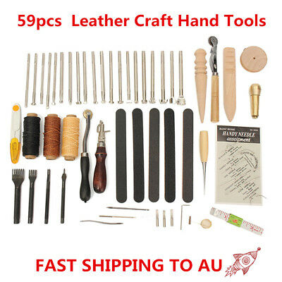 AU 59pcs Leather Craft Hand Tools Kit For Hand Stitching/Sewing Stamping Set New