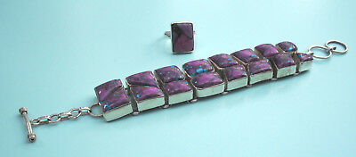 925 Silver Purple Mohave Turquoise Bracelet and Ring Set - Statement