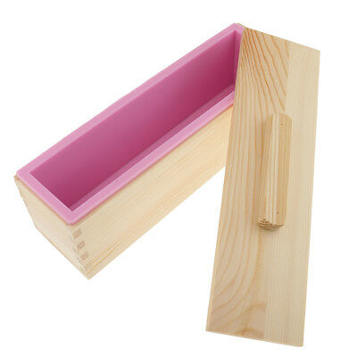 Rectangle Silicone Soap Mold Wooden Box with Lid DIY Soap Toast Loaf Mould