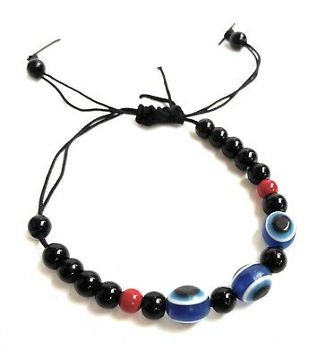 Evil Eye Unisex Bracelet Resin Bead Blue Stretch  Luck Protection Turkish Nazar