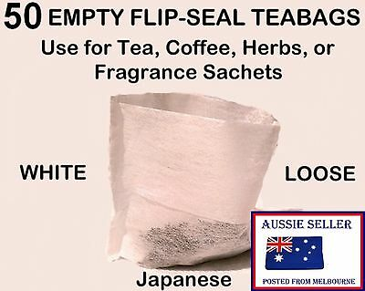 50 Tea Bags WHITE FLIP-SEAL * Herb * Spice * Fruit * Filter * Infuser Teabags