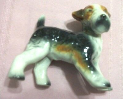 Vintage Figurine Young  Airedale Dog Porcelain Made In Japan 4.5 Inch Tall