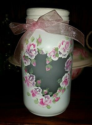 Mothers Day Hand Painted pink Roses Romantic Mason Jar shabby cottage chic