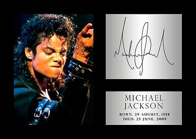 michael jackson poster 297mm x 210mm - A4 copy Tribute Signed #60