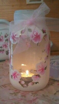 Hand Painted pink Roses Romantic  Mason Jar shabby cottage chic Mothers day