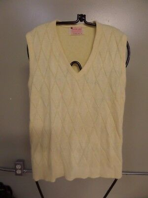 Vintage Estate Men's Yellow sweater v-neck vest size Medium by Royal Jeff