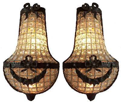 Pair Antique Patina Replica Crystal Brass French Empire Cage Basket Wall Sconces