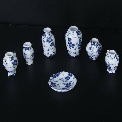1/12 Dollhouse Miniatures Ceramics Porcelain Vase Blue Vine -7 piece CP