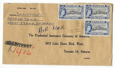 G22   Bahamas, Registered Commercial Cover to Canada, Scott #194 (2 scans)