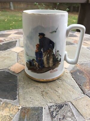 Norman Rockwell LOOKING OUT TO SEA Mug Gold Trim Porcelain Nautical, No Box