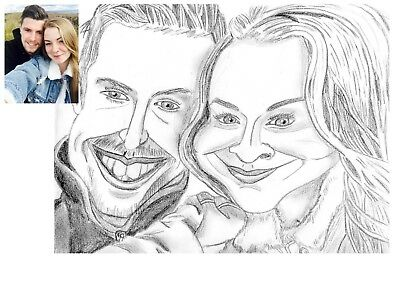 Custom Caricature Couple Portrait from photo by professional caricaturist