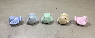 Set Of 5 Antique Porcelain Painted Multi-Color Dove Chopstick Holders Rests