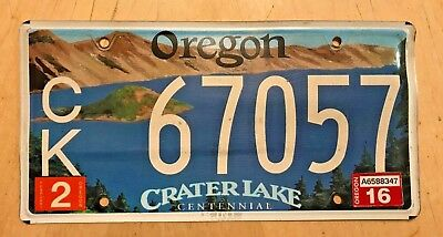 "Oregon License Plate "" Ck 67057 "" Or Crater Lake National Park Centennial"