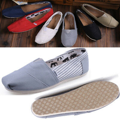 Mens Womens Flat Espadrilles Pumps Canvas Plimsolls Slip On Comfy Shoes UK Size