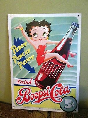 Vintage 1990's BETTY BOOP Boopsi Cola Advertisng Hanging Metal Sign 12.5 x 15 in