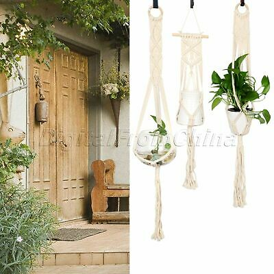 Garden Plant Hanger Decor 4 Leg Macrame Flowerpot Holder Gardenpot Lifting Rope