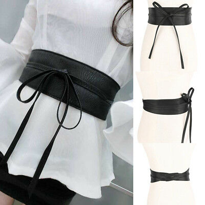 Womens Waist Belt Stretch Buckle Bow Wide Leather Elastic Corset Waistband Lady