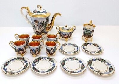 Vintage 15 Piece Capodimonte 22k Gold Coffee Set & Pot (S15_2261)