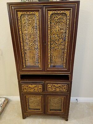 Vintage Chinese Mini Small Chest Cabinet w/ Deep Red and Gold Carving