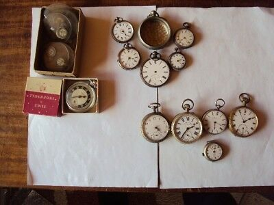 Job-Lot Of 10 Pocket Watch's All Spares Or Repair 5 Silver 5 Base Metal