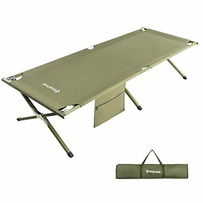KingCamp Camping Cot Military Style OVERSIZED Heavy Duty Folding Bed Anodized...