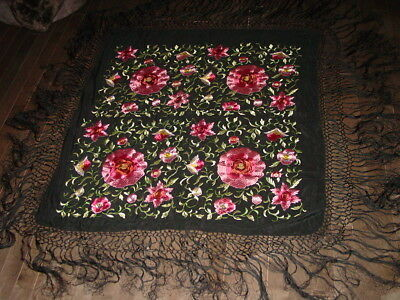 Antique Vintage Silk Embroidered Piano Shawl Chinese Canton Exquisite