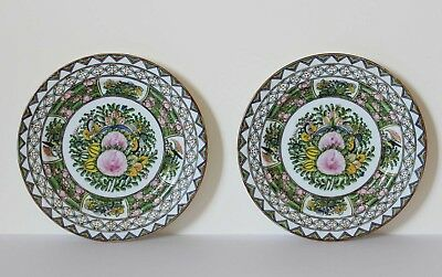Antique Chinese Export Porcelain PAIR OF PLATES Famille Verte