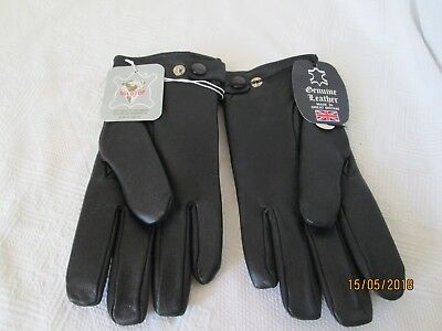 New Vintage Gold Top Black Leather Motorcycle Gloves Size Medium