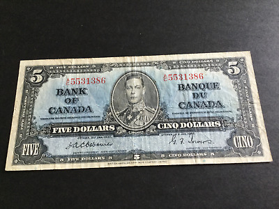 5 Dollar Canadian Banknote Osborne & Towers 1937 series