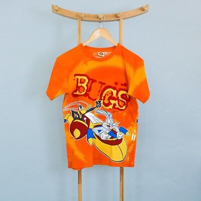 Retro Vintage Warner Bros. Bugs & Daffy Orange TShirt Cotton Kids XLarge 14 yrs