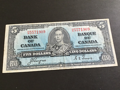 5 Dollar Canadian Banknote Coyne & Towers 1937 series