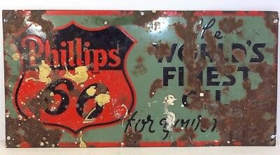 Vintage Double Sided Phillips 66 Porcelain Sign, The World's Finest Oil, AS IS