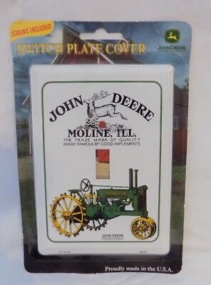John Deere Tractor Light Switch Plate Cover, Moline ILL, Metal, w/Screws NEW