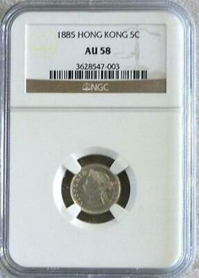 1885 Silver Hong Kong 5¢ Five Cents Ngc About 58 Queen Victoria
