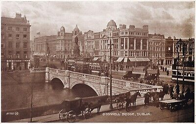 Dublin - O'connell Bridge, Trams, Horse & Carts By Valentine's