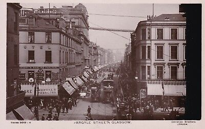 """Glasgow - Argyle Street With Trams -"""" Busy"""" Real Photo By Davidson Bros"""