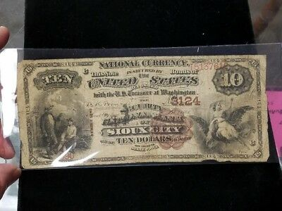 1882 Sioux City Iowa $10  Brown Back Banknote National 3124 1884