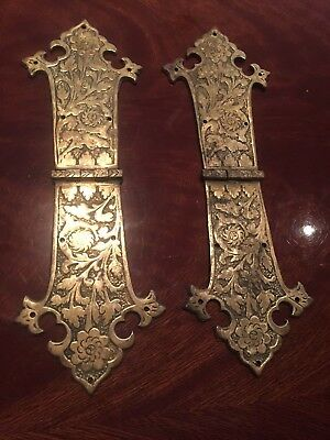 Antique pair of brass hinges