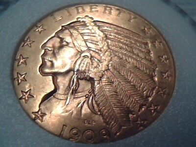 1909-D United States Five Dollar Indian Half Eagle Gold Coin ~ (A) ~ .2418 Agw