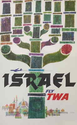 Israel poster vintage FLY TO ISRAEL WITH TWA, THE KNOWN AMERICAN COMPANY
