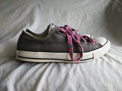 Womens Converse All Star Gray Low Top w/ Pink/Gray/White Strings Size M8  W10