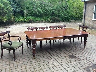 Large Antique Victorian Mahogany Windout Extending Dining Table1850 superb grain