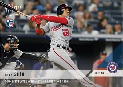 2018 Topps Now Juan Soto Rookie Card 322 Youngest with Multi HR Game
