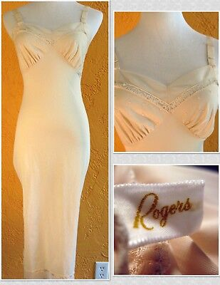 Lovely Vintage 1950s ROGERS Full Slip w/Mesh, Lace, & Embroidery - Sz 32 - USA