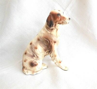 "Vtg IRISH SETTER RED/WHITE FIGURINE 7"" Nice Rendition By Eric Stauffer MINTY"