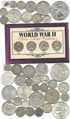 """World (43) Forty Three Old Silver Coins  #4680 """"great Big Lot & Free Usa Ship"""""""