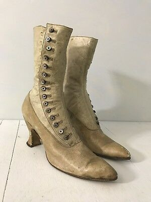 Antique Victorian Edwardian Boots White Leather Mother of Pearl Buttons Shoes