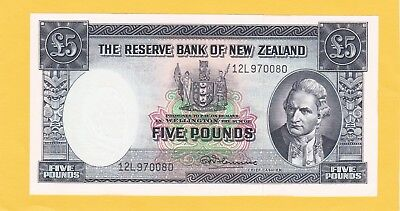 1961 Five Pounds Reserve Bank Of New Zealand In Gem Uncirculated Condition