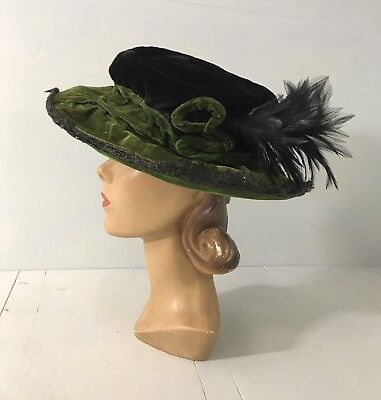 Edwardian Green Hat Antique Velvet and Feather Plume Horse Hair Lace Wide Brim